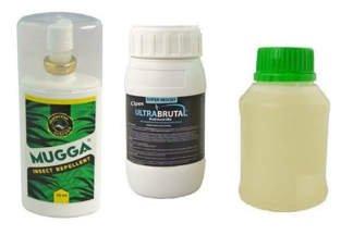 Innowacyjny preparat na komary Ultra Brutal™ 250 ml + utrwalacz do oprysku Superam 10AL 250 ml + Mugga DEET spray 75 ml