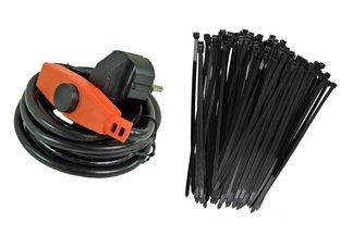 Kabel grzewczy 1m z energooszczędnym termostatem 16 W  + opaski kablowe 100szt Gratis!