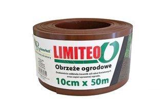 Obrzeże trawnikowe ogrodowe brązowe, proste 10cm x 50m LIMITEO