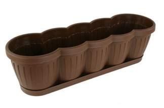 Skrzynka balkonowa 60 cm z podstawką – kolor brązowy