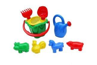"""Zestaw zabawek do piasku """"Kogucik""""- mix kolorów, 9 elementów"""