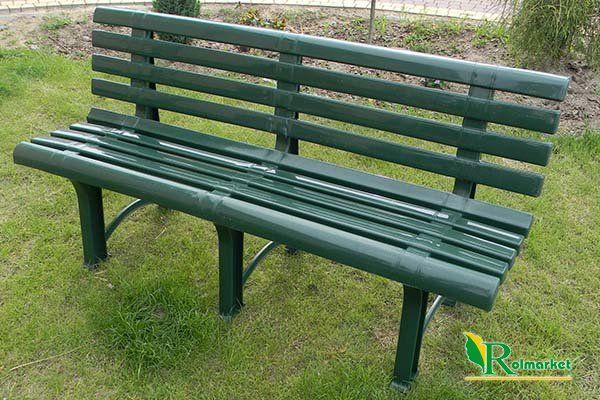 Meble Ogrodowe Z Siatki Metalowej : plastikowa ławka ogrodowa ATENA z oparciem  zielona  Meble ogrodowe