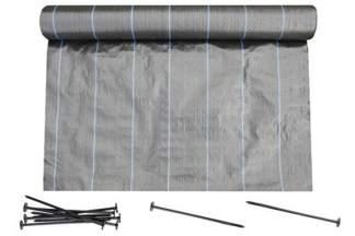 Agrotkanina czarna 0,8x100m (90g) + szpilki mocujące 19 cm (50 szt)