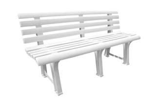 Biała plastikowa ławka ogrodowa z oparciem Orchidea
