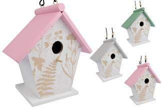 Drewniany domek (budka lęgowa) dla ptaków, mix wzorów