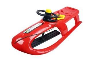 Duże plastikowe sanki dla dzieci Bullet Control ISPC czerwone z kierownicą i linką
