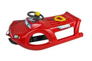 Duże plastikowe sanki dla dzieci ZIGI-ZET control ISZGC czerwone z kierownicą i linką