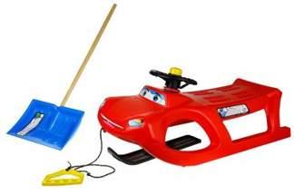 Duże plastikowe sanki dla dzieci ZIGI-ZET control ISZGC czerwone z kierownicą i linką + łopata GRATIS