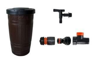 Duży ozdobny zbiornik na deszczówkę Woodcan 265 litrów + kran + zestaw przyłączy do podłączenia węża ogrodowego