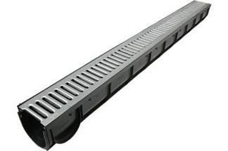 Kanał do odwodnienia liniowego z ocynkowanym rusztem 90 x 90 x 1000 mm
