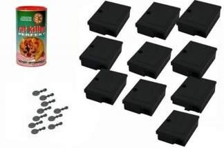 Karmnik deratyzacyjny MOUSE BOX 10szt z  kluczykami + trutka na myszy i szczury Rat Killer 250g