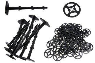Kołki plastikowe ZĄBKI MAX 20cm (50 szt) + podkładki dociskające (100 szt)