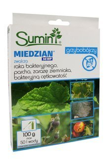 Miedzian 50 WP 100 g – środek grzybobójczy (fungicyd) do ochrony roślin rolniczych i warzywnych