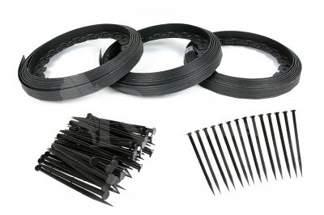 Obrzeże trawnikowe ogrodowe czarne 40mm x 30m Elasteo + 90 kotew