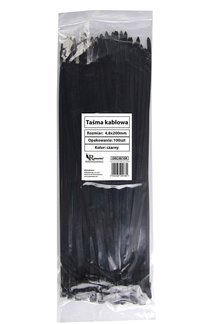 Opaski kablowe czarne 4,8x200mm (100 szt.)