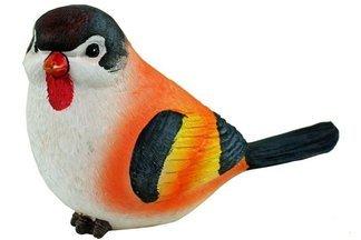 Ozdobny ptak ogrodowy E biało-pomarańczowy – figurka, dekoracja ogrodu