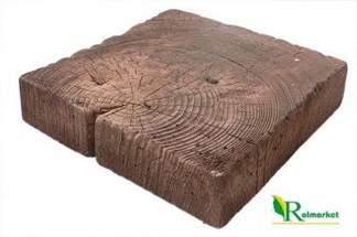 Pień kwadratowy ciemny BDO - betonowe drewno ogrodowe