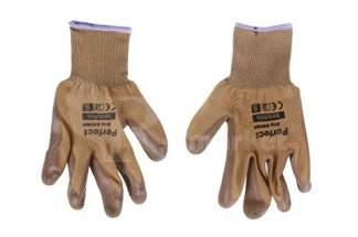 Rękawice ochronne ogrodowe powlekane lateksem PERFECT GRIP BROWN - rozmiar 9