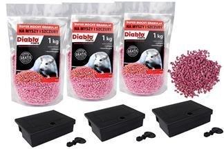 Skuteczna trutka na myszy i szczury Diablo Forte granulat 3kg + 3 karmniki z kluczykami