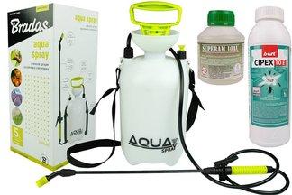 Skuteczny preparat na komary Cipex 10E 1l + utrwalacz 250 ml+ opryskiwacz ciśnieniowy 5l
