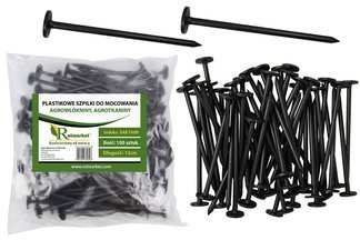 Szpilki plastikowe do mocowania agrotkaniny i agrowłókniny, 12cm (100 szt.)