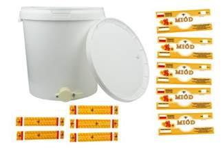 Wiadro plastikowe z pokrywą, wiaderko spożywcze z atestem, odstojnik do miodu 33 litrów + plastikowym zaworem spustowym