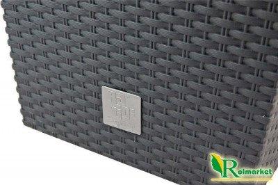 Doniczka dekoracyjna DRTS 325 z wkładem wewnętrznym o strukturze ratanu - kolor antracyt