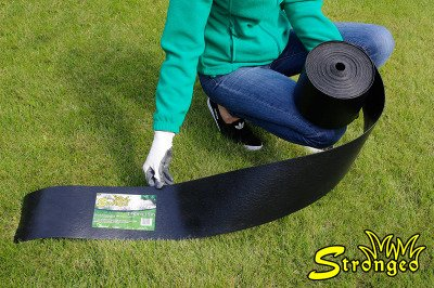 Grube obrzeże trawnikowe ogrodowe Strongeo proste, czarne 14cm x 15m