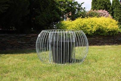 Okrągła donica gabionowa z wewnętrznym koszem Olimpia L – wys. 40 cm